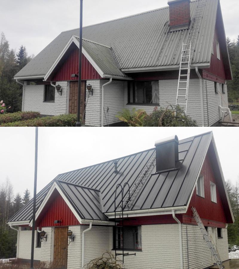 Talon katon uudistus, ennen ja jälkeen.