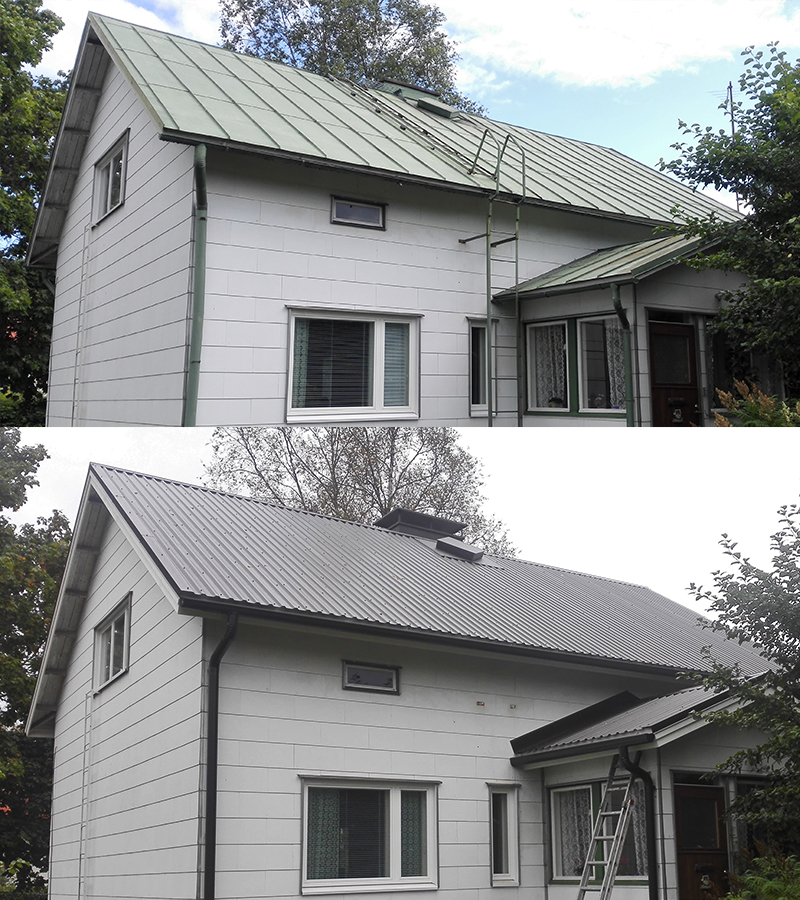 Uusittu katto, ennen ja jälkeen.