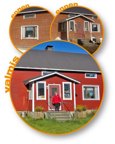 Leena Mikkonen vastamaalatun talonsa edessä, ja kaksi kuvaa talosta ennen maalausta.