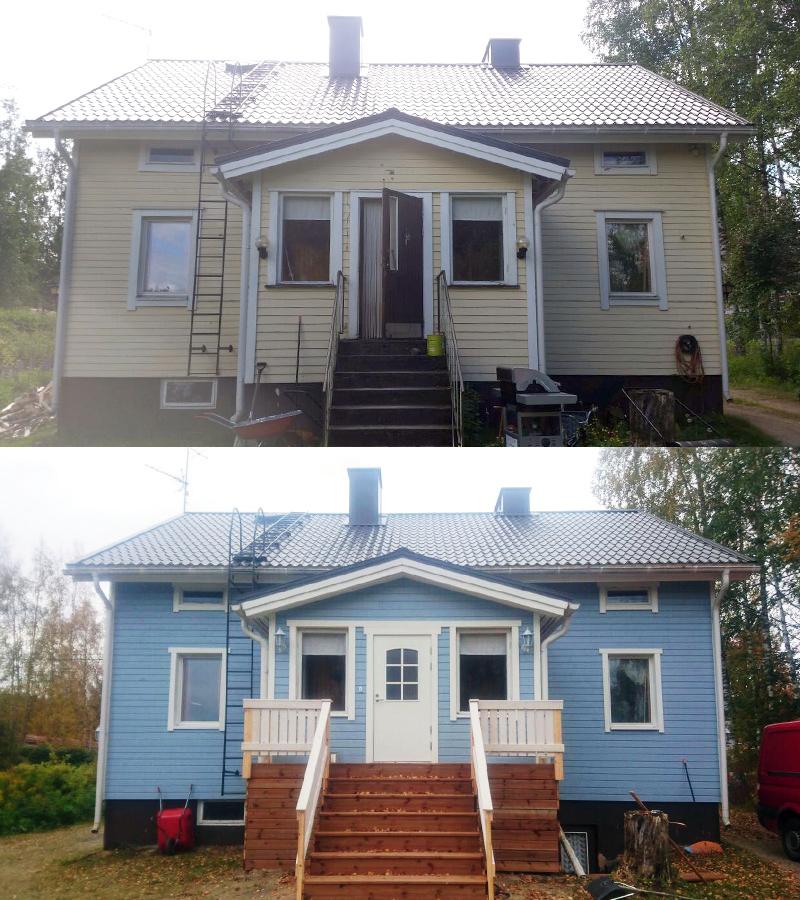 Talon maalaus, ennen ja jälkeen.