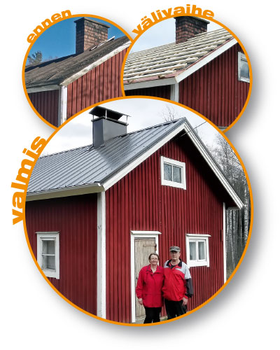 Kaija Suihkonen ja Kauko Sutinen vasta uusitun katon edessä. Kuvassa myös katto ennen remonttia, ja remontin välivaihe.