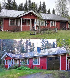 Ulkoverhous ennen ja jälkeen.